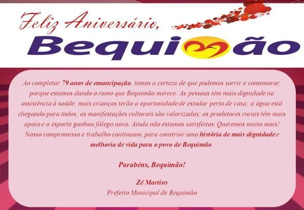 Cartão aniversário de Bequimão
