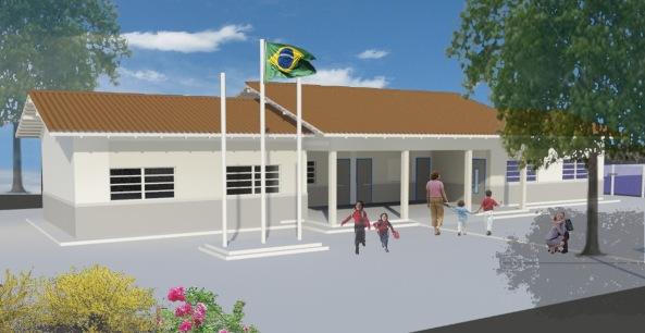 Fachada padrão das escolas de duas salas