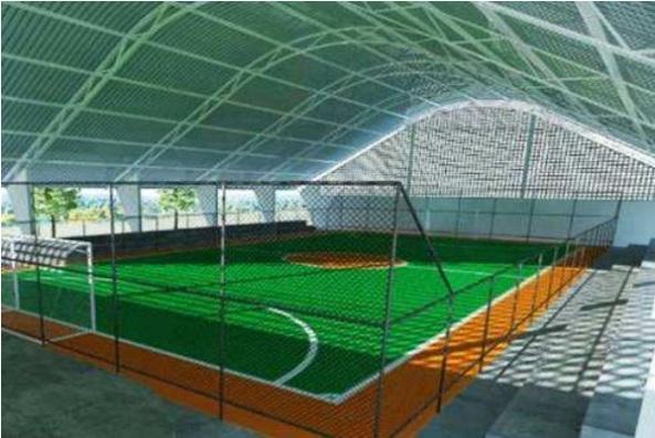Ilustração do padrão de quadra com vestiário que será construída em Paricatíua, Quindíua e Pontal