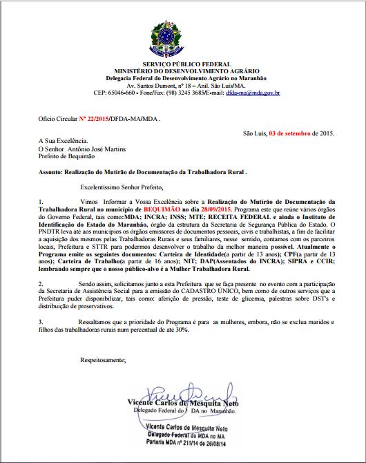Documento enviado pelo MDA à Prefeitura de Bequimão