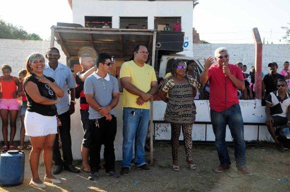 Momento em que o prefeito Zé Martins falava da importância da Copa Quilombola