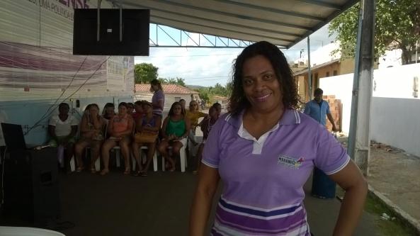 A coordenadora da Carreta da Mulher, durante atividades realizadas em Bequimão