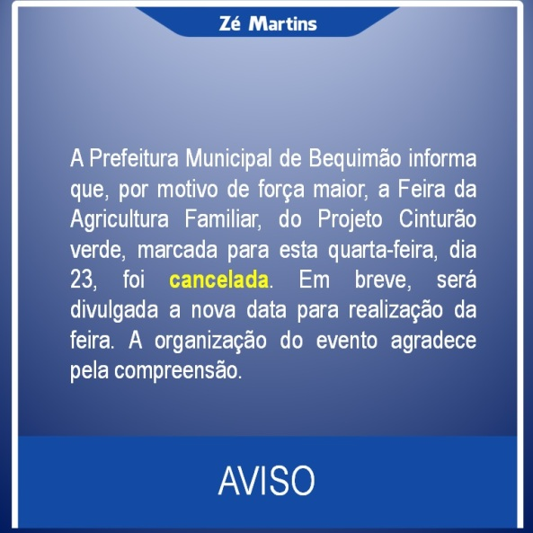 CANCELAMENTO DA FEIRA